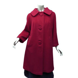 Adorable 50s Notch Pocket Red Wool Coat Bit Button